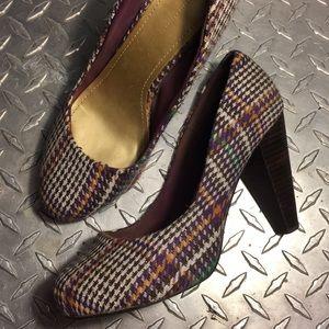 Classic Tweed Wooden Heels